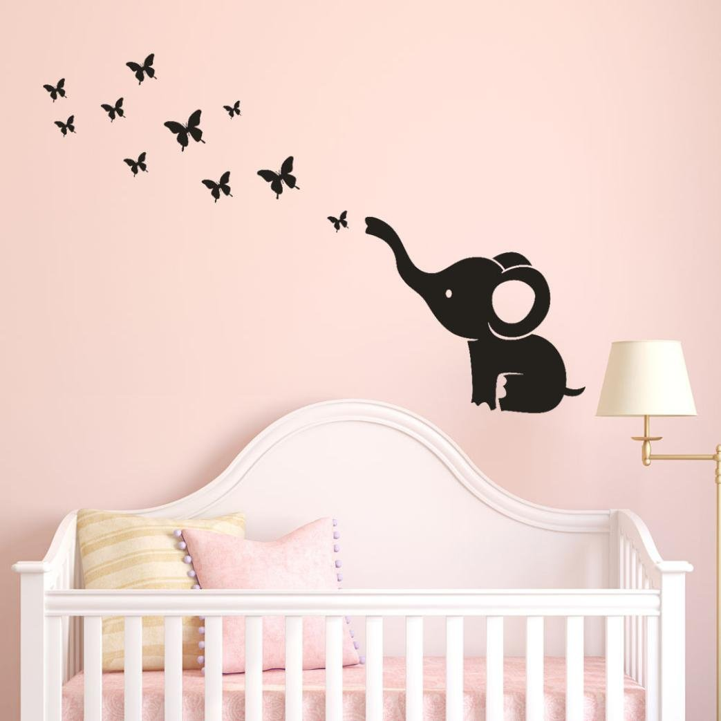 Allywit Cute Beautiful Design Elephant Butterfly Wall Sticker Baby Room and Living Room Art Decal Vinyl Wall Stickers Kitchen Restaurant Decor (Red)