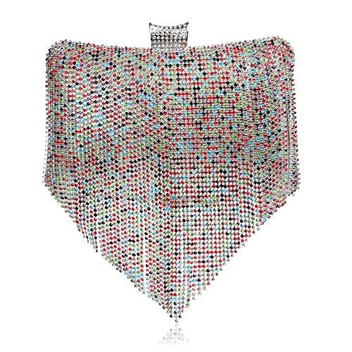 À Clubs Mariage Cadeau Dames Pochette Bandoulière Nuptiale Prom Diamante Multicolore Pour Tassel Main Main Sac Sac Sac Femmes à Soirée Glitter Enveloppe À EHqx4xwa