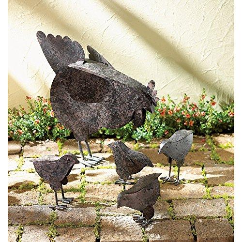 5 PC Set! Country Hen With Chicks Sculpture Patio Garden Decor Chicken Yard Art