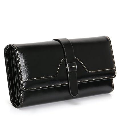 Monederos, Mujer Carteras de Piel Genuina, Cera Gran Capacidad, Bloqueo RFID, 12 Ranuras para Tarjetas y Bolsillo para Monedas