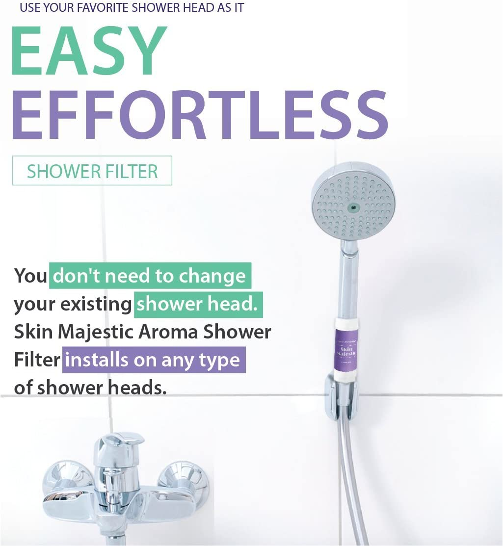 Skin Majestic Aroma Shower Filter Efficient Filtered Shower Head Aqua Soft With Vitamin C For Healthy Skin /& Hair Lavendar 3 Count Microfiber Showerhead Filters To Remove Chlorine And Flouride