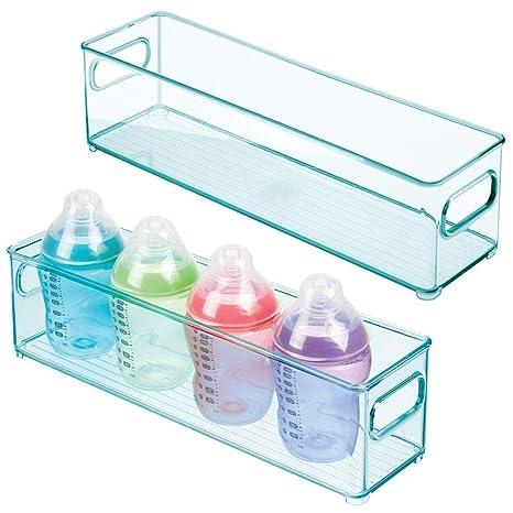 Caja para Juguetes o pa/ñales en pl/ástico Libre de BPA Contenedor pl/ástico Grande con pr/ácticas Asas y sin Tapa mDesign Juego de 4 cestas organizadoras para Cuarto de beb/é Transparente