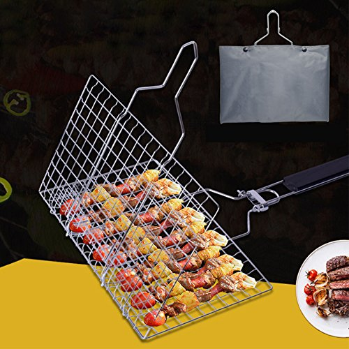 Bbq Baskets Accessories Outdoor Cooking (Zantec BBQ Grilling Basket,Hamburger BBQ Grill Mesh Mat Outdoor BBQ Grilling Accessories)