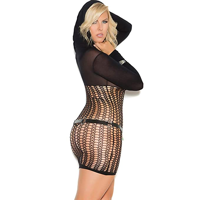 eca60f756463 Amazon.com: Plus Size Hooded Crochet Mini Dress, Plus Size Crochet ...