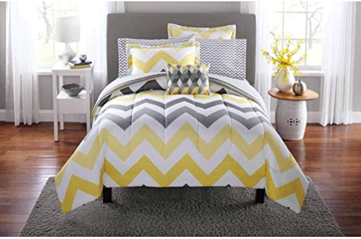 Amazon Com Mainstays Yellow Grey Chevron Bed In A Bag Bedding
