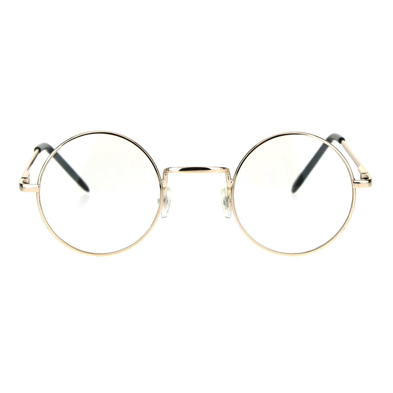 22a2341955 Amazon.com  Classic Metal Rim Round Circle Lens Pimp Hippie Clear Lens Eye  Glasses Gold  Clothing