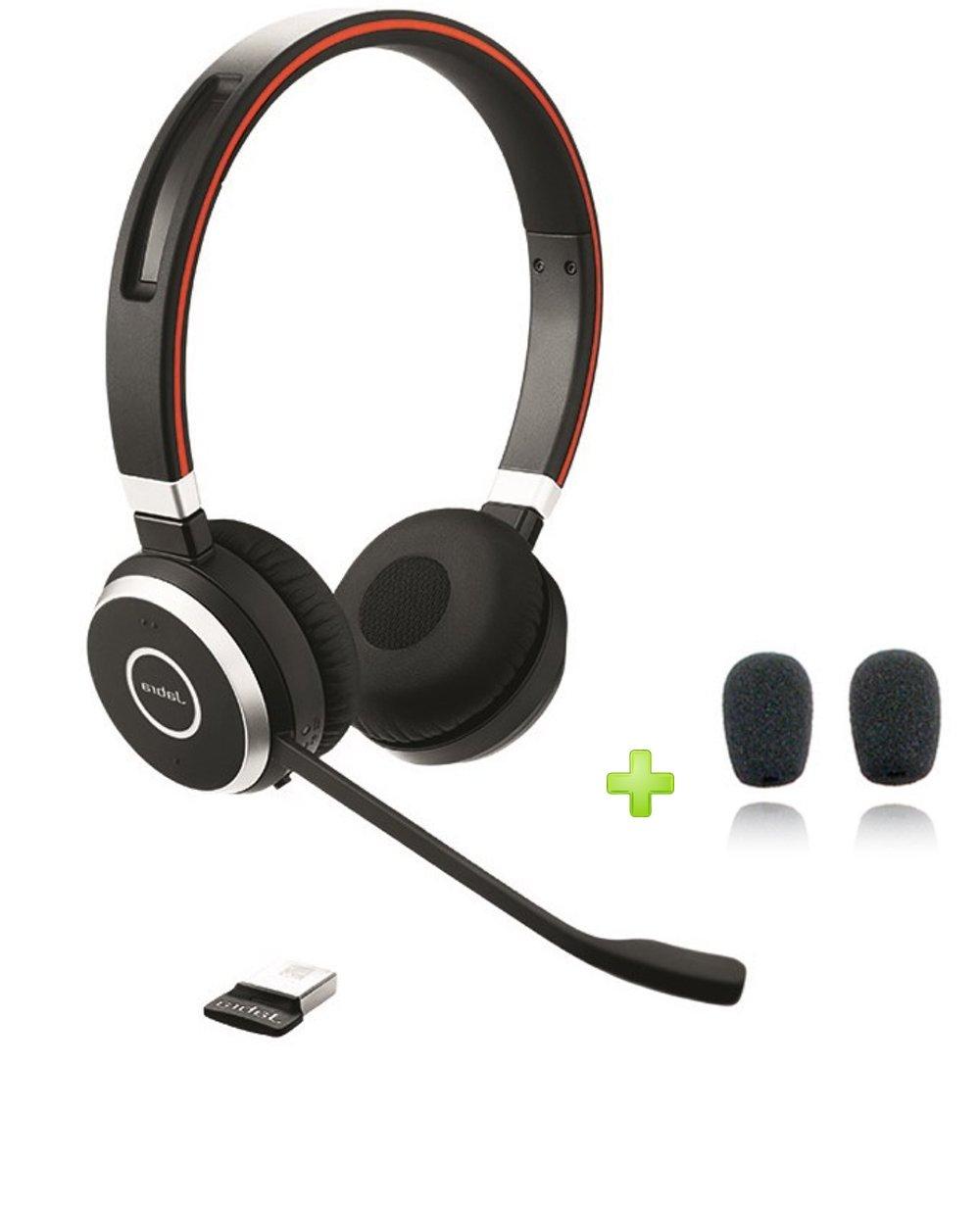 Jabra Evolve 65 Bluetooth UC (DUO) NFC Headphones Bundle   Windows PC, Surface, MAC, Smartphone, Mobile, Streaming Music, IP Softphones, NFC   6599-829-409-C   Bonus Premium Microphone Cushions