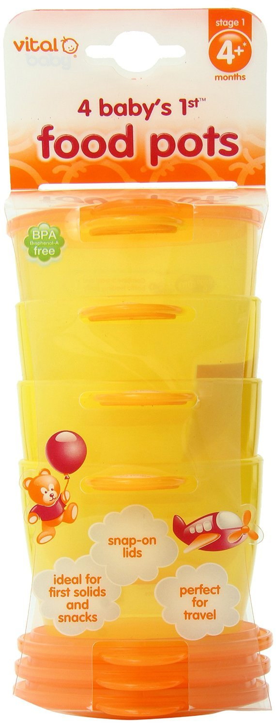 Vital Baby Baby's 1st Food Pots, Orange, 7 Ounce, 4 Pack