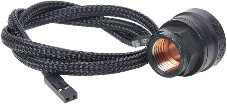 "Phobya G1/4"" Inline Temperature Sensor, 2X Female G1/4"" Ports, 50cm, Matte Black"
