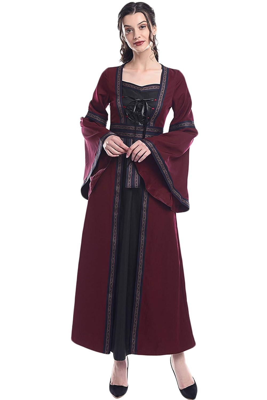 Renaissance Medieval Women's Victorian Irish Gown Costume Long Dress Medieval Irish Dress-sofbs