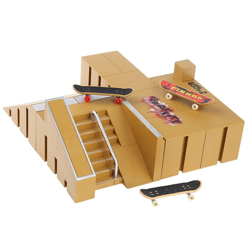 BISOZER Finger Board Skate Park Kit, 8PCS Mini Games Skate Park Kit Ramp Parts for Tech Deck Finger Skateboard Ultimate Parks Training Props by BISOZER-Toy (Image #4)