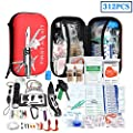 XUANLAN First Aid Kit Survival Kit, 312Pcs Upgraded Outdoor Emergency Earthquake Survival Kit Gear - Medical Supplies Trauma Bag Safety for Home Office Car Boat Camping Hiking Hunting Adventures