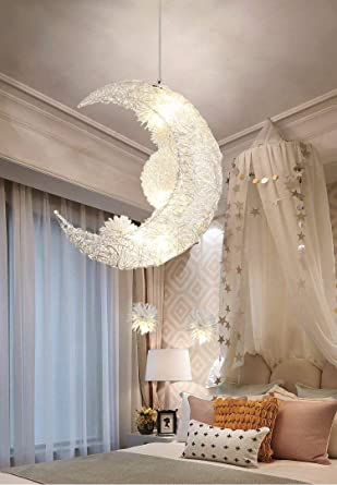 reputable site c8f5d 80426 Creative Moon And Stars Fairy LED Pendant Lamp Chandelier Ceiling Light  Kids Children Bedroom Decoration (White Light)