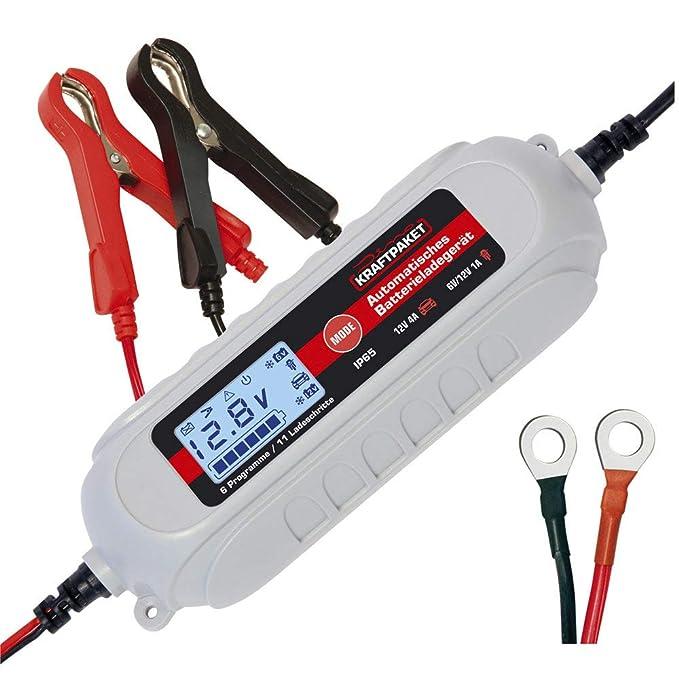Dino KRAFTPAKET 136312 Batterieladegerät 6V/12V-4A mit Batterietester und Erhaltungsladung für KFZ PKW Auto Motorrad mit Komf