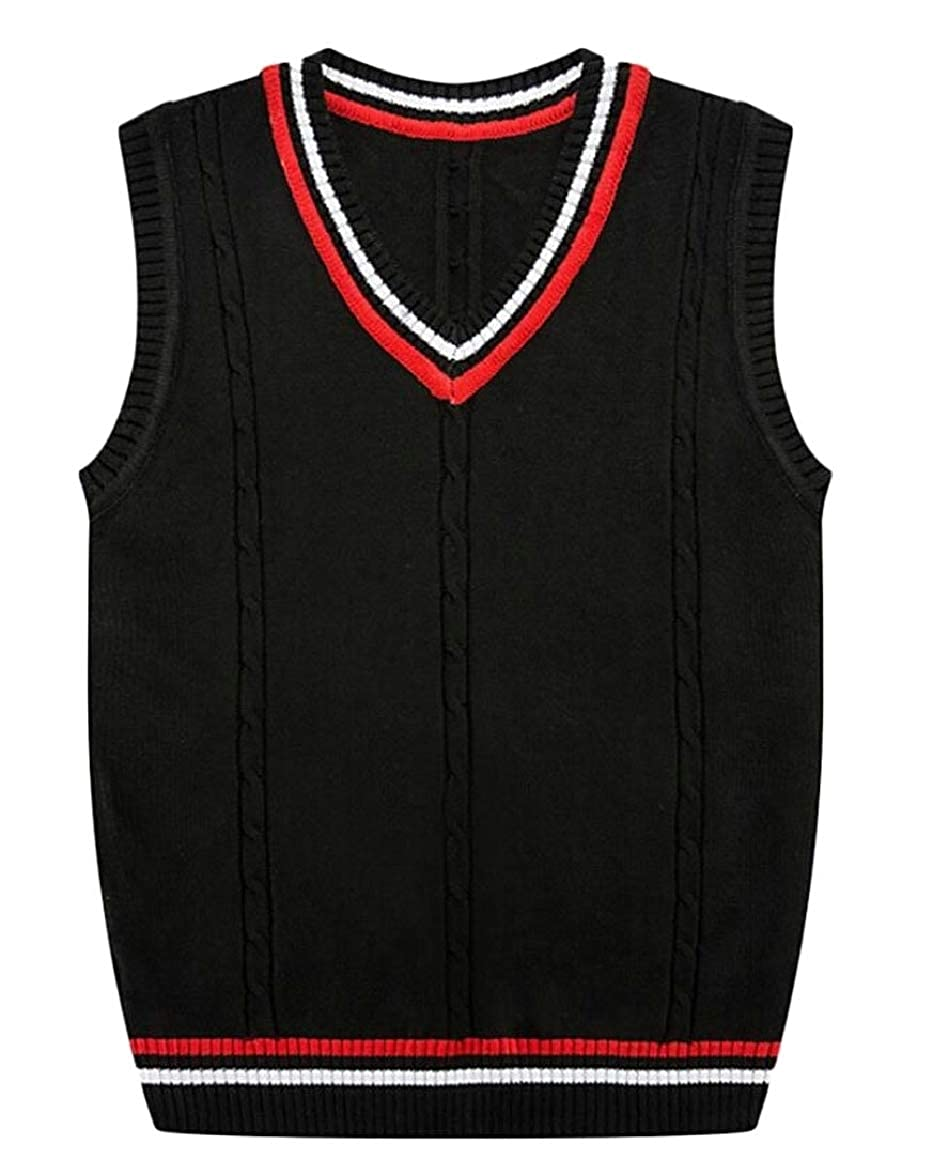 pujingge Mens Fashion Tops Sleeveless Relax Fit Vest Knit V-Neck Sweater