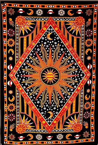 (Eve Split Burning Sun Tapestry,Celestial Sun Moon Planet Psychedelic Tapestries, Bohemian Indian Hippie Wall Hanging,Dorms Bedspread printing Cotton Dorm Decor Beach Towel Blanket Carpet,Golden)