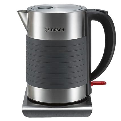 Bosch TWK7S05 - Hervidor de agua de acero inoxidable con recubrimiento de silicona antideslizante, 2200 W, color gris