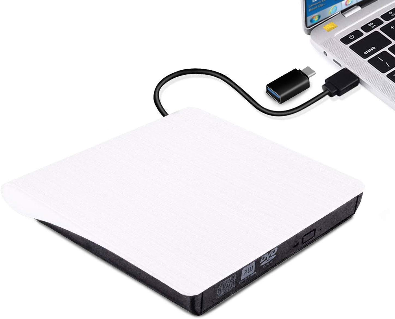 External DVD CD Drive, USB 3.0 Portable CD DVD +/-RW Drive, Slim DVD/CD ROM Rewriter Burner High Speed Data Transfer Compatible with Laptop Desktop PC MacBook Windows 7/8/10/XP/Vista/Linux OS