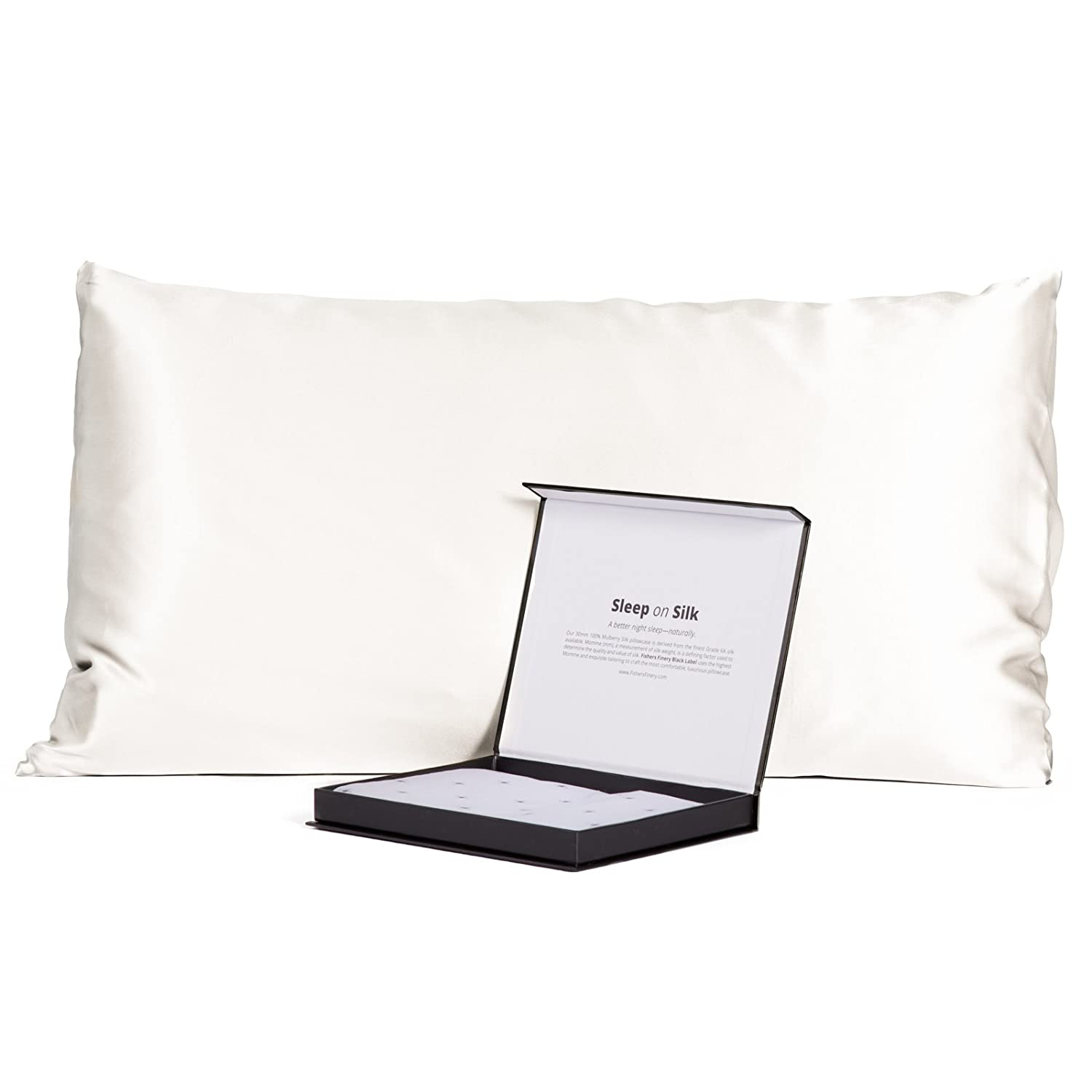 Amazon.com: Fishers Finery 30mm 100% Pure Mulberry Silk Pillowcase Good  Housekeeping Quality Tested (White, Q): Kitchen & Dining