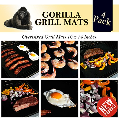 Gorilla Grill Mats New Over sized Double Strength Grill Mat - BPA and PFOA Free - Pack of 4