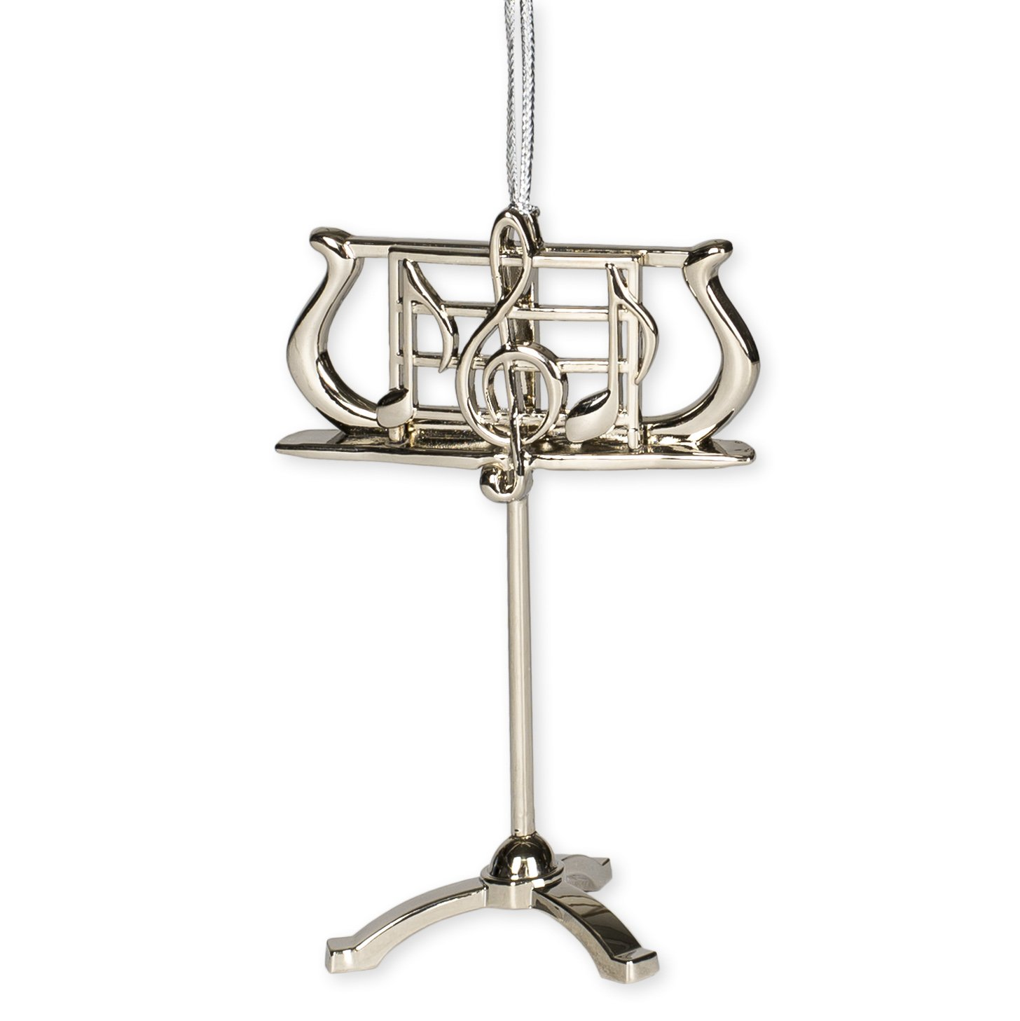 Silver Music Stand Music Instrument Replica Christmas Ornament, Size 3.5 inch