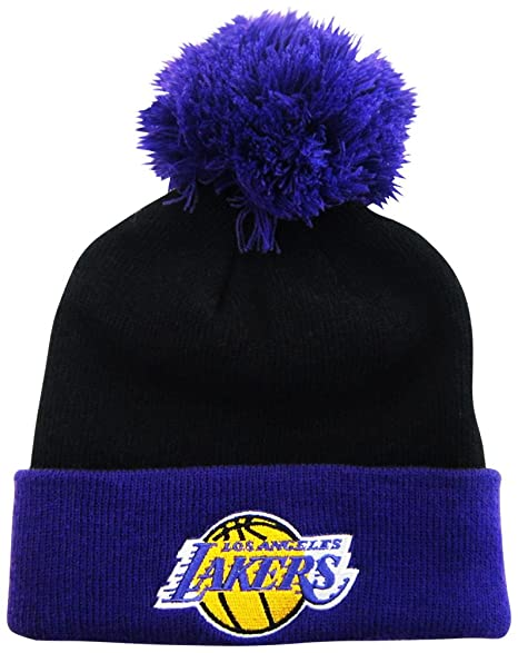 1229a55b4df Amazon.com   Los Angeles Lakers Black   Purple Cuffed Pom Knit Cap   Beanie    Sports Fan Beanies   Sports   Outdoors