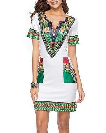 4311cec9c4e4 ZiXing Damen Böhmische Kleid V-Ausschnitt Loose Minikleider Oberteile Partykleid  Maxi Kleider Beige Small