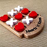Father's Day Gifts Handmade Wooden Heart and Cross Tic Tac Toe Game (X and O Game) for Kids and Adult - Great Gifts for Kids for All Occasion