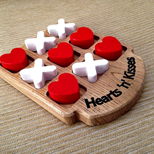 Handmade Wooden Tic Tac Toe Game for Kids 7 and Up - Great Gifts for Kids for All Occasions (Heart and Cross)