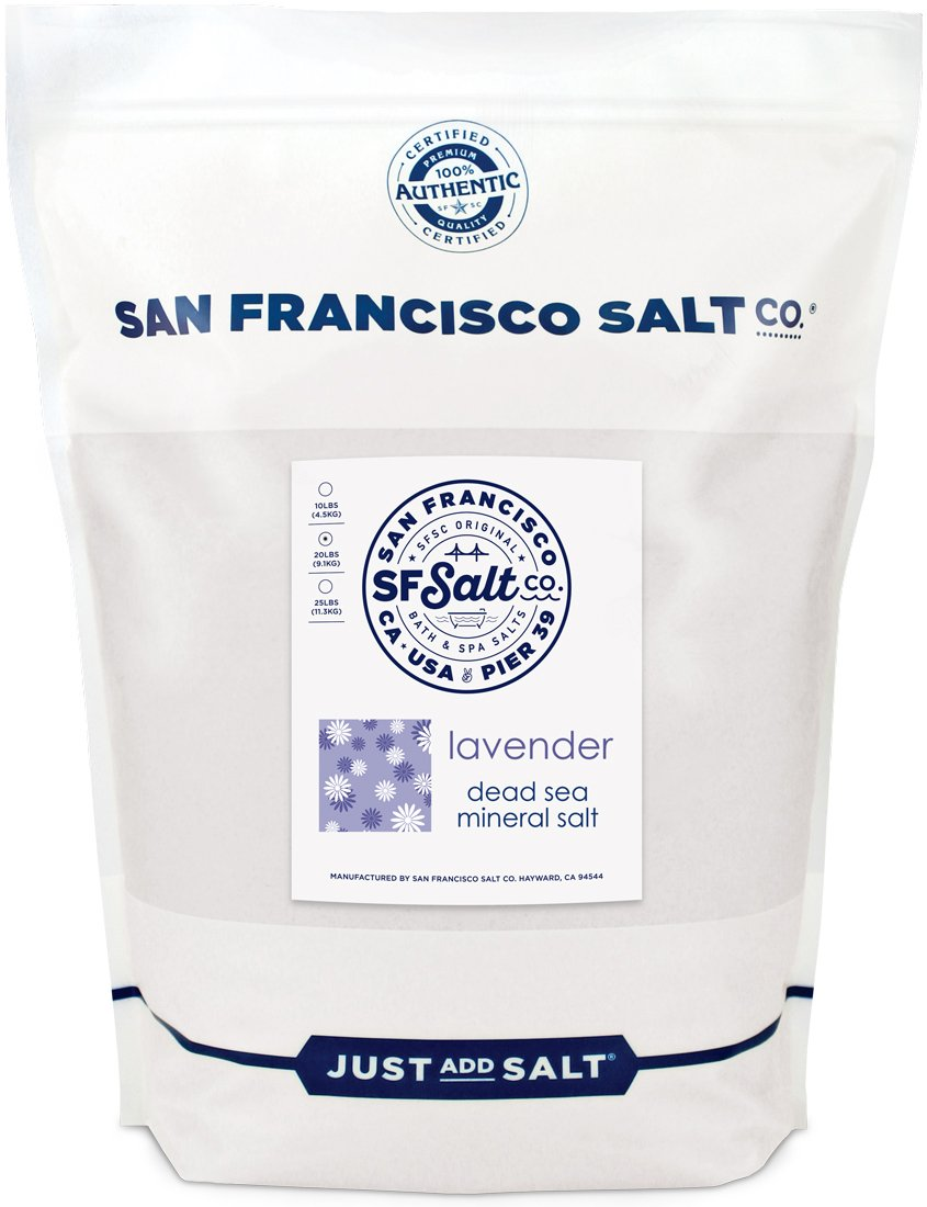 Relaxing Lavender Dead Sea Salt - 20 lb. Bulk Bag by San Francisco Salt Company by San Francisco Bath Salt Company