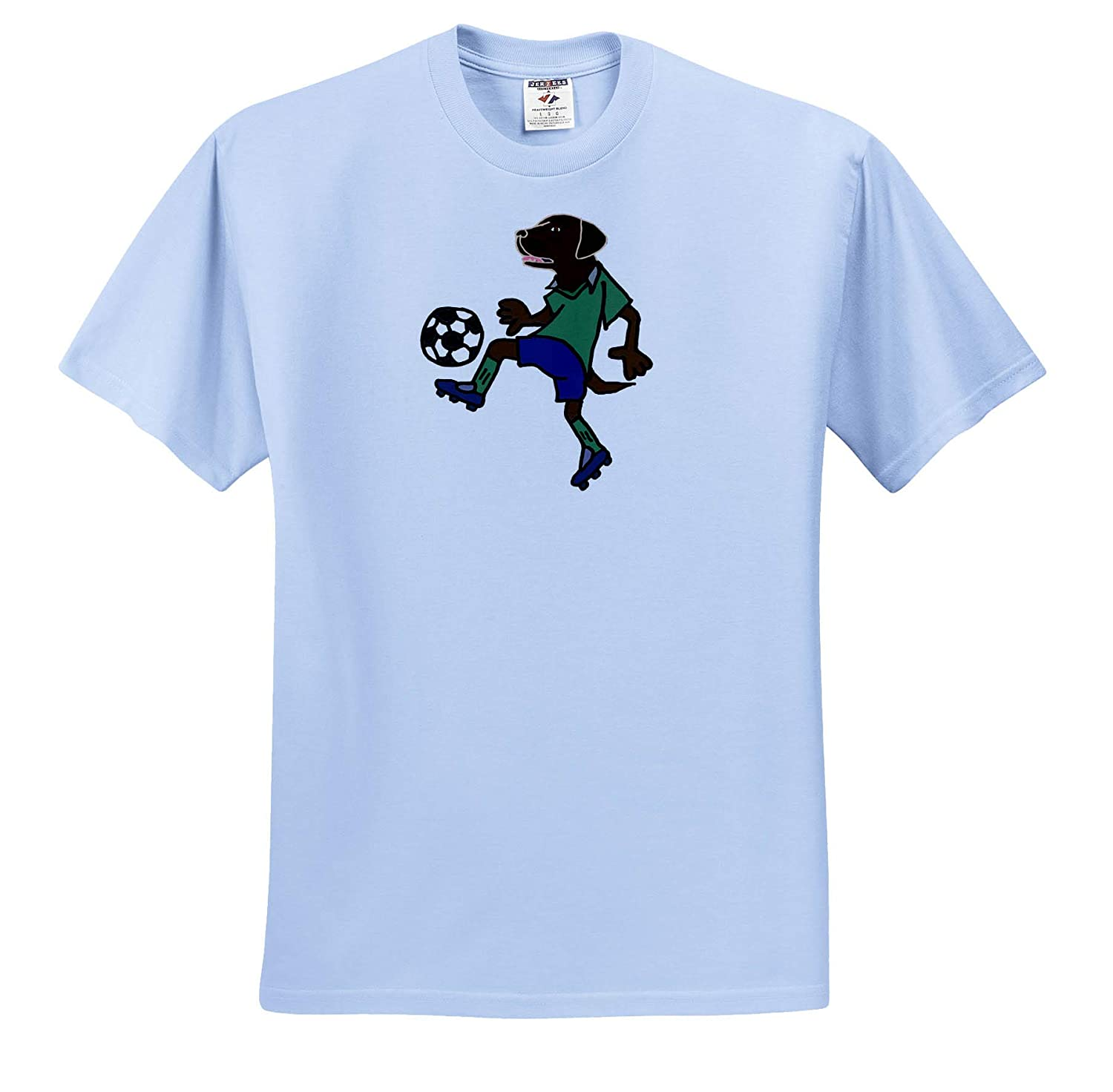 T-Shirts 3dRose All Smiles Art Animals Cute Funny Chocolate Lab Dog Playing Soccer Action Cartoon