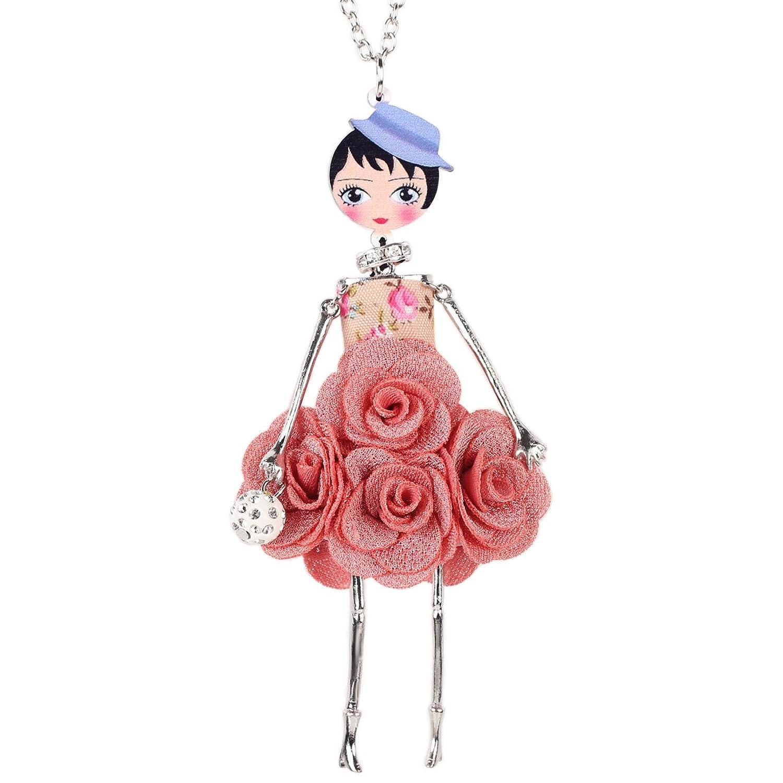 "Bonsny Paris Doll Necklace Dress Handmade Pendant ""Amellie"" Alloy Flower Crystal Long Chain Women Jewelry"