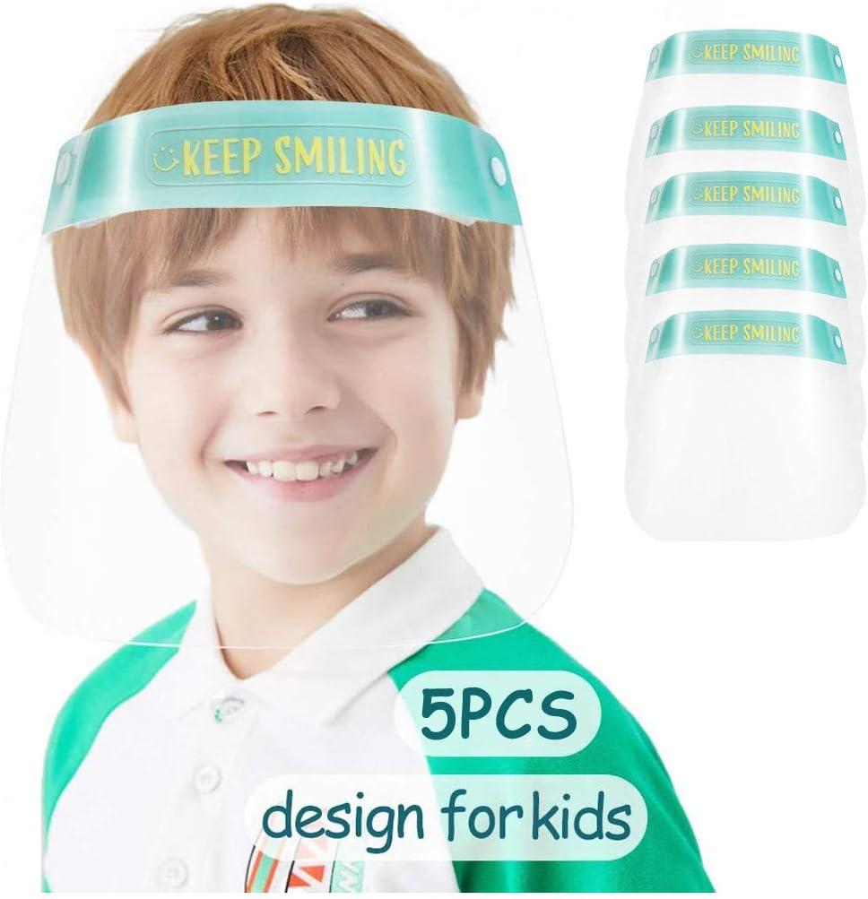 5//10Pcs Full Face Protection Shields for Kids Reusable Washable Transparent Face Cover for Children Anti-Splash Dustproof Protection Durable Green, 10pcs