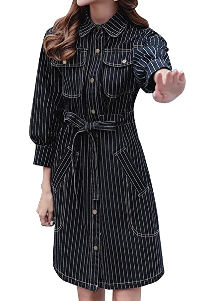 a7d55bd6f3 ARTFFEL-Women Plus Size Stripe Print Long Sleeve Button up Belted Denim  Shirt Dress Black