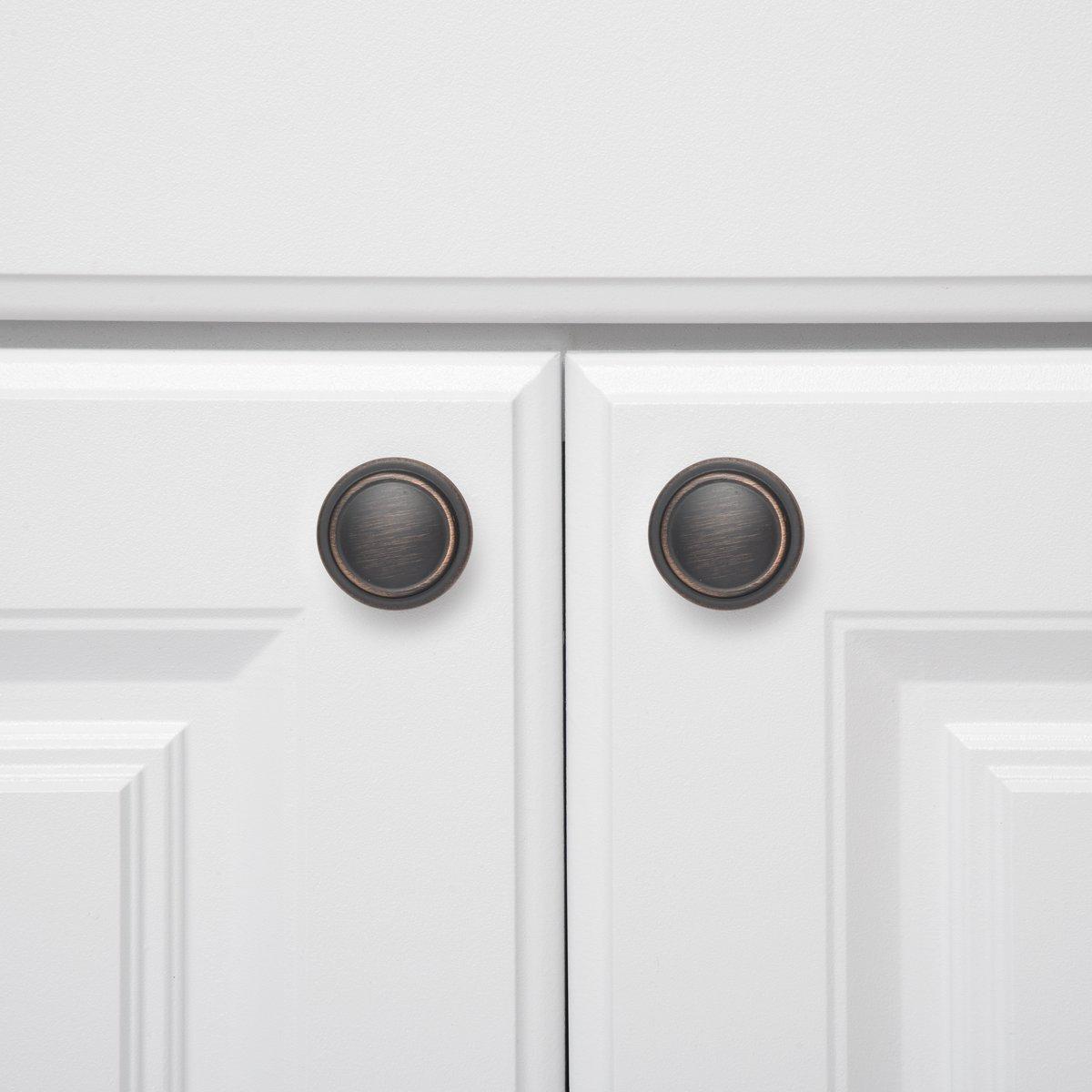 Pomo de armario 3,17 cm de di/ámetro Negro liso Paquete de 25 Basics con dise/ño de aro superior plano
