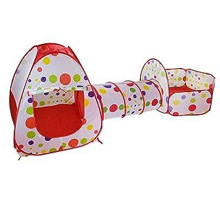 OOFAY Tenda Bambini Gioco Casa Wave Point Tunnel Punto 3 In 1 Piazza Coperta Beach Playground,Red