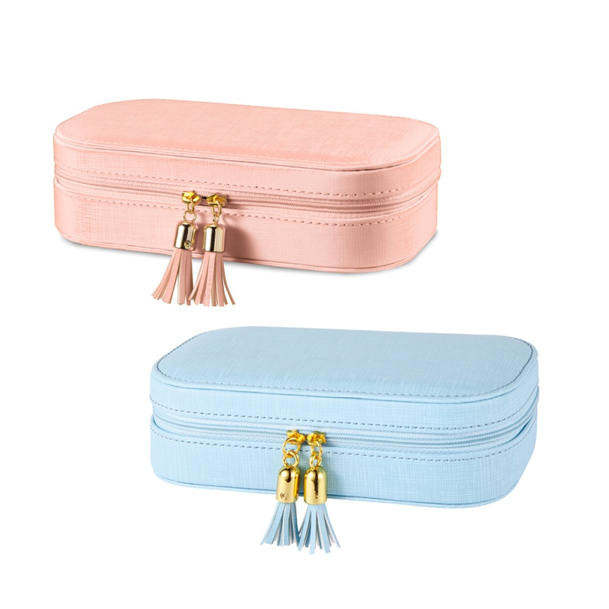 Vlando Small Tassel Travel Jewelry Box Organizer Display Storage Case for Girls Women (NEW TASSEL DESIGN (PINK + BLUE))