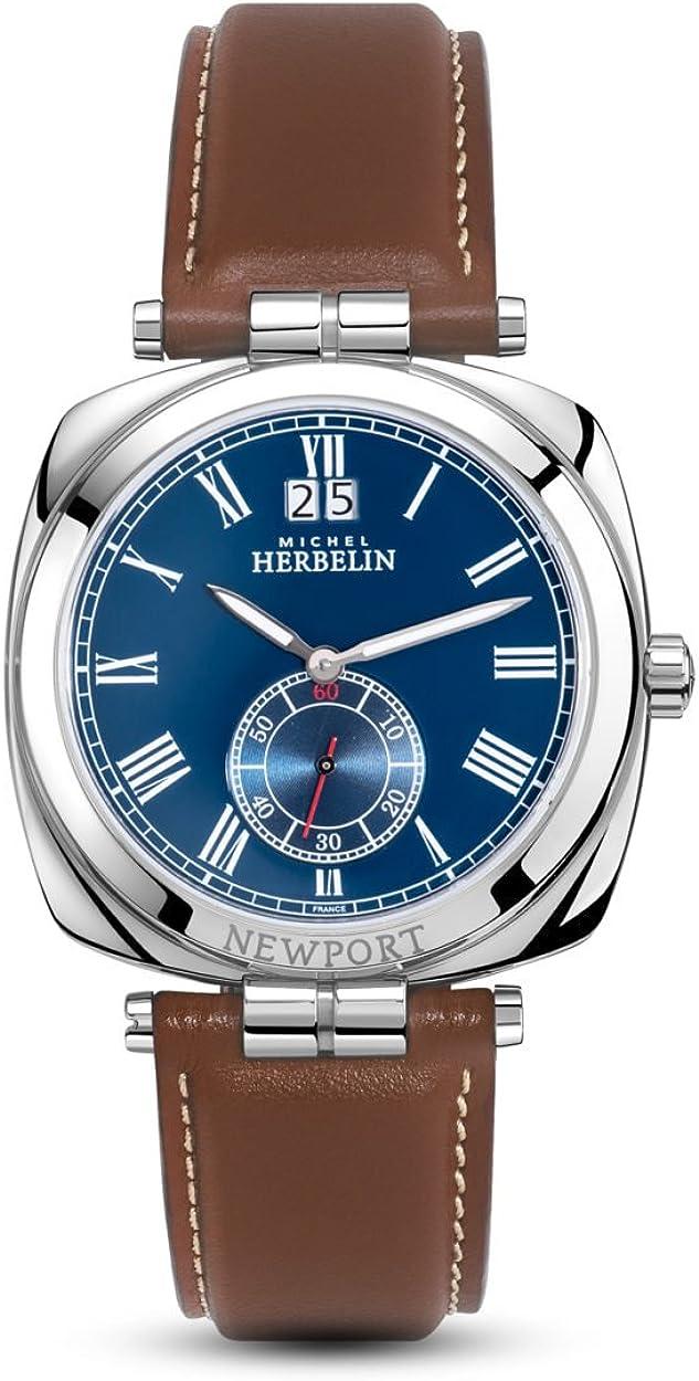 Reloj para Hombre Michel Herbelin - 18264/AP05GO - Newport - Esfera Azul - Correa de Cuero marrón