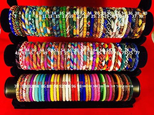 Bead Beaded Bangle Bracelet - WigsPedia Roll on Glass Beaded Bracelet - Nepal Glass Beaded Bangles SET of (100)