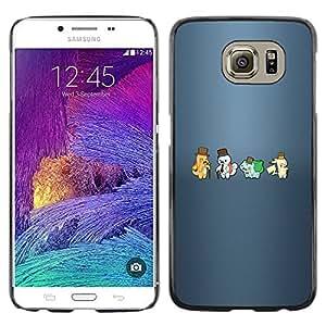 KLONGSHOP // Cubierta de piel con cierre a presión Shell trasero duro de goma Protección Caso - Meter Hipsters Monster - Samsung Galaxy S6 //