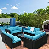 Cheap Peach Tree 9 PCs Outdoor Patio PE Rattan Wicker Sofa Sectional Furniture Set With 2 Pillows and Tea Table