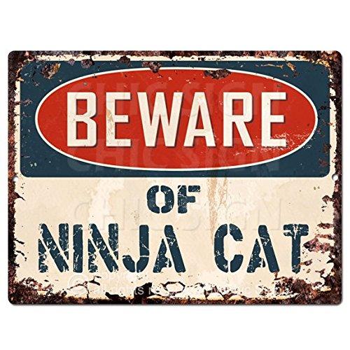 (Beware of NINJA CAT Chic Sign Vintage Retro Rustic 9