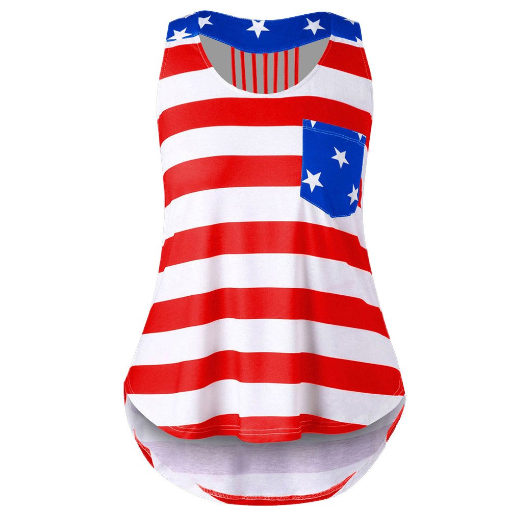 Eduavar Womens Tops Blouses Women Casual Distressed American Flag Sleeveless Shirt Tank Tops Blouse for Women Red