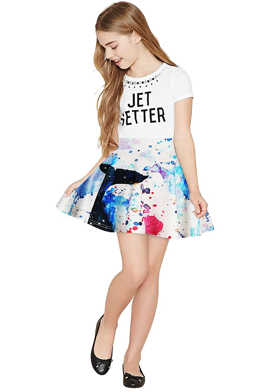 Happy Cherry Girls A-Line Skirt Pleated Flared Galaxy Printed Skater Skirt