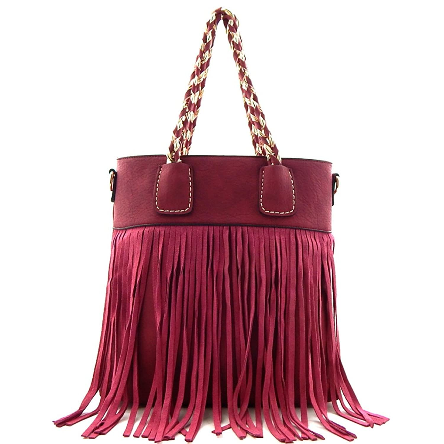 Leather Fringed 2 Way Tote Bag