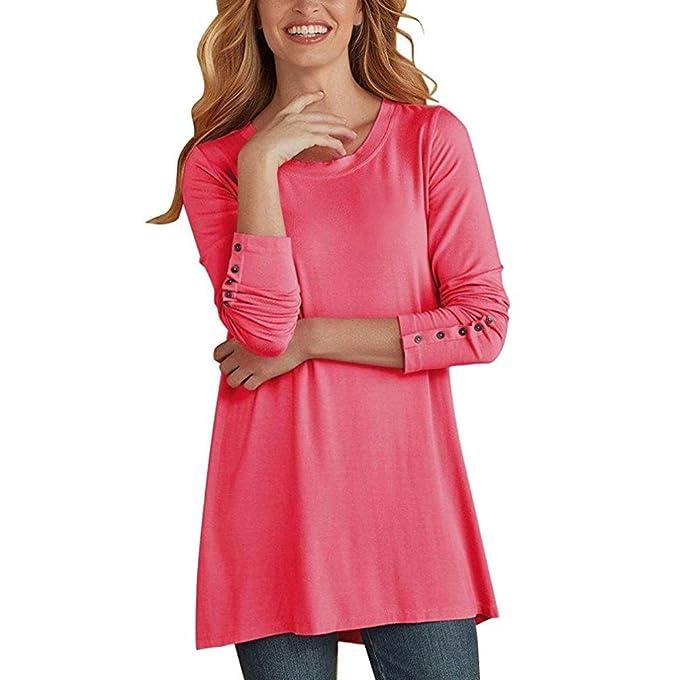 ❤ Camisa Larga para Mujer, Casual O Cuello Manga Larga botón Blusa Larga Tops Camisas Absolute: Amazon.es: Ropa y accesorios