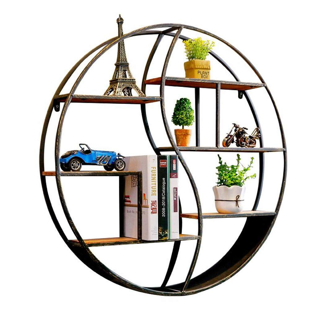 Ganxie Black Metal Wall Mounted Multi Shelf Storage Organiser Unit Display Rack Plant Shelf Round (Size : 60cm×12cm×60cm) by Ganxie
