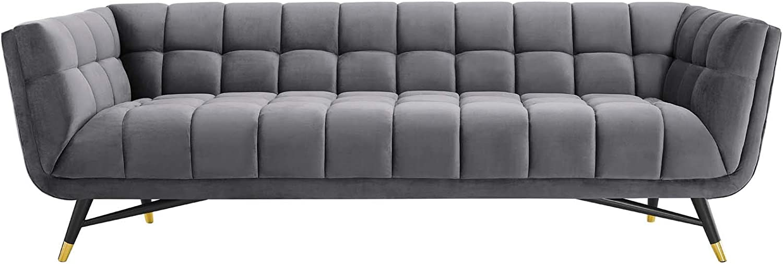 Modway Adept Contemporary Mid-Century Modern Performance Velvet Upholstered Tufted Sofa in Gray