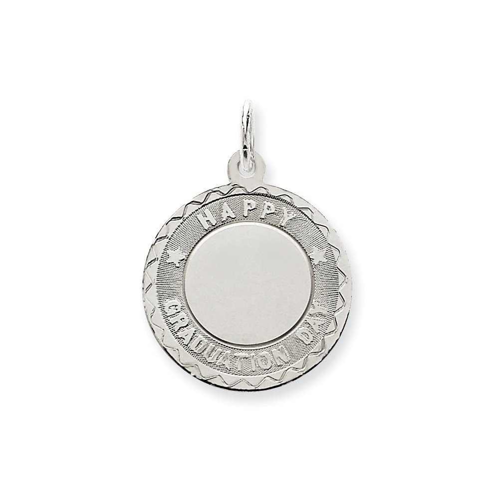 18 Mireval Sterling Silver Happy Graduation Disc Charm on a Sterling Silver Carded Box Chain Necklace
