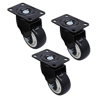 UEETEK Ruedas giratorias de 3 piezas para trabajos pesados, placa superior de 360
